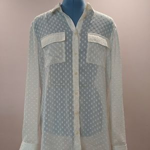 Banana Republic sheer textured blouse